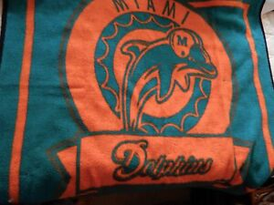 BIEDERLACK-MIAMI-DOLPHINS-Blanket-Throw-NFL-Football-Distressed-Fleece-55x50-VTG