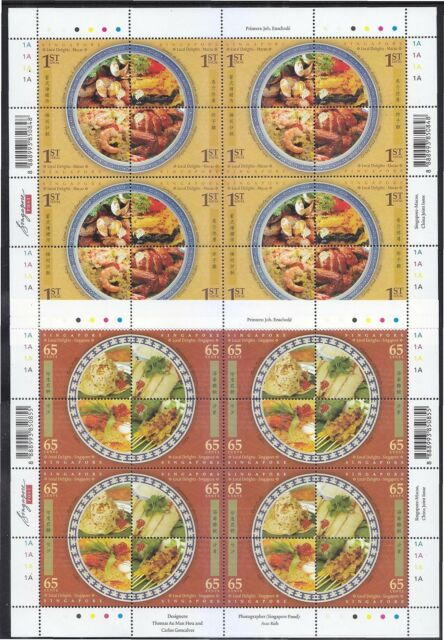 SINGAPORE 2008 MACAU JOINT ISSUE LOCAL DELIGHTS 2 FULL SHEET 16 STAMPS EACH MINT