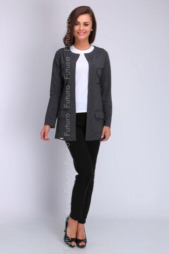 Giacca da donna con tasche casual Blazer cappotto manica Lunga Cape Taglia 8-12 FA403