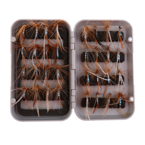 32Pcs Fly Fishing Flies Kit Bass Salmon Trout Flies Lures Assortment Fly Box