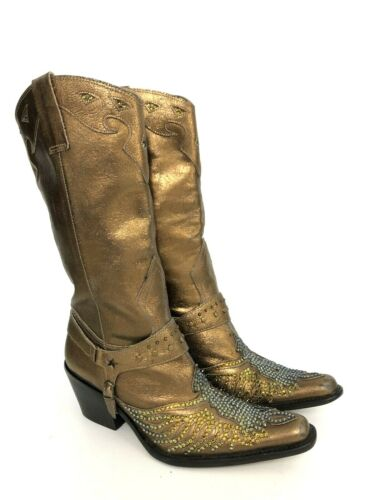 MIA Women's 8.5 M Gold Metallic Leather Rhinestone