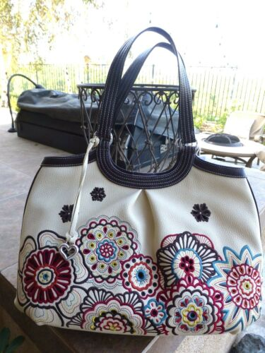 Flower Large Leather Brighton All Pursehandtas Nwt Embroidered DHEI29
