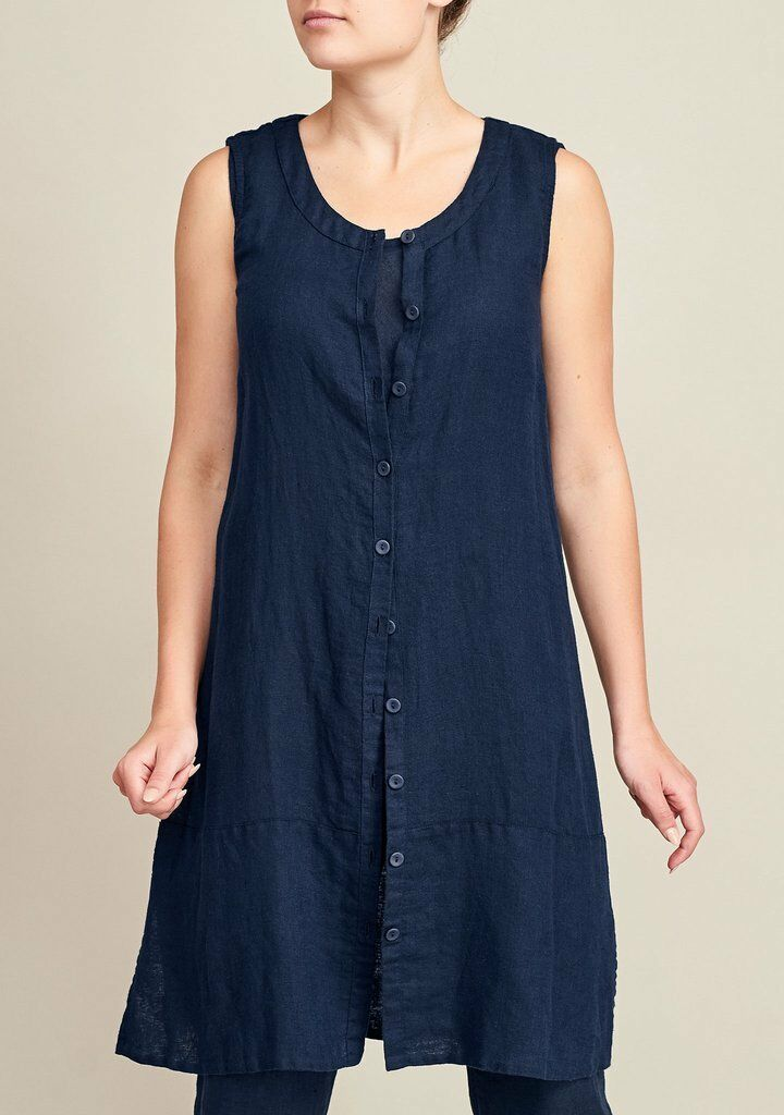 FLAX Designs  LINEN DRESS  S & M    NWT  Marigold Layer   Midnight