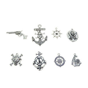 Pack-of-8-Mix-Vintage-Metal-Nautical-Pirate-Pendants-Charms-Send-Randomly