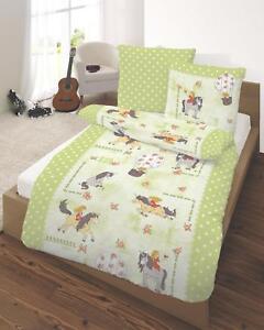 Kinder Bettwasche 135x200 Cm Pferd Rosen Sterne Grun Fein Biber