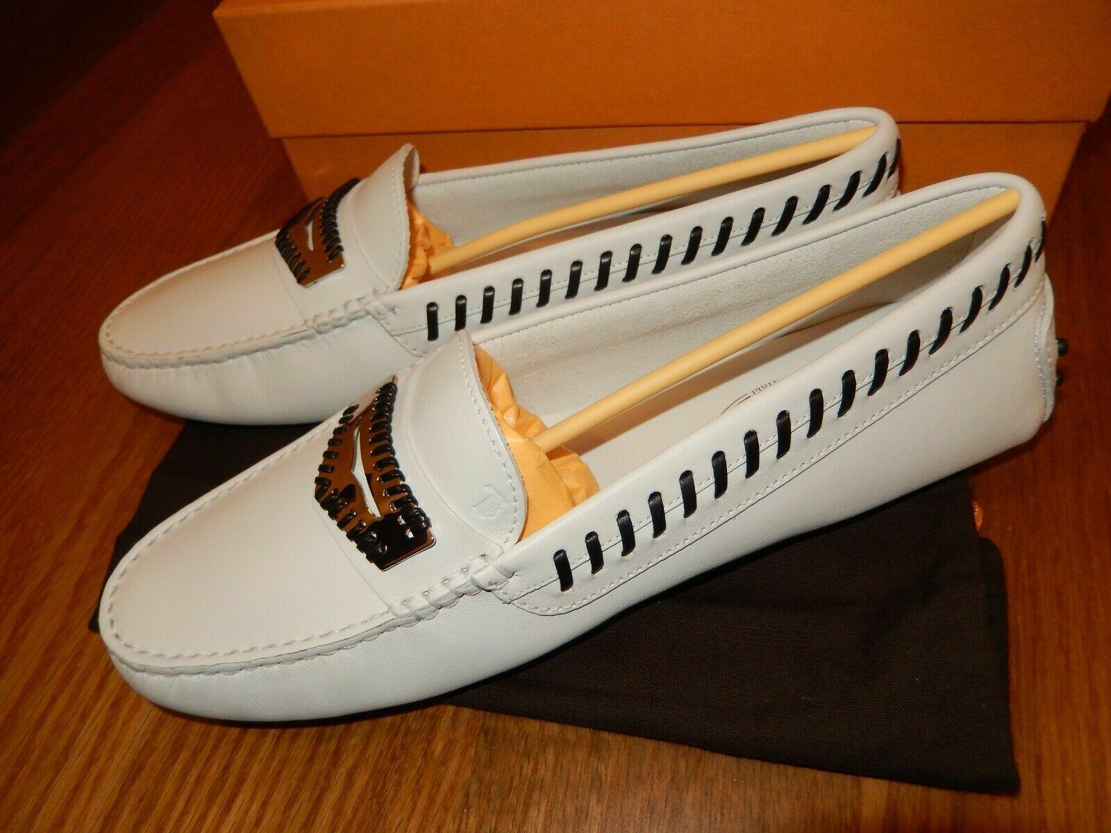 Tod's, mujermokassins, loafers, blancoo, cuero genuino, talla 41, nuevo con caja de cartón