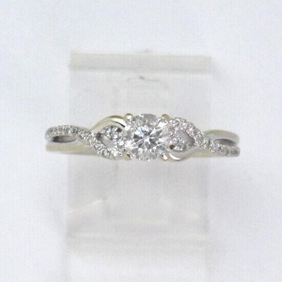 14k White gold Round Diamond Engagement Ring .84ct
