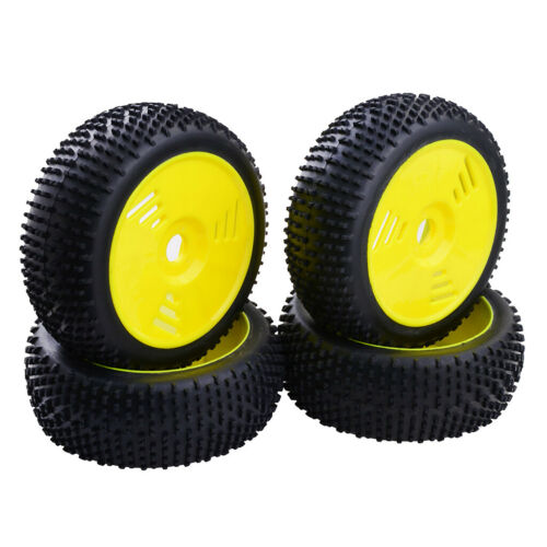 4Pcs 110mm Rubber Tire Tyres with Wheel Rims for Team Losi 1//8 RC Car Buggy