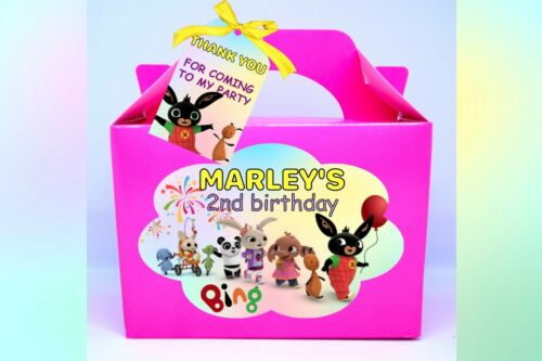 Toddler themed decor Cbeebies x1 Bunny Bing Flop Party box Birthday loot bag