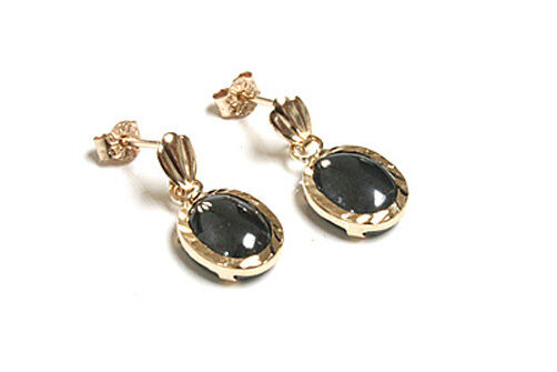 9ct gold Hematite Oval Drop Dangly Earrings Gift Boxed Made in UK