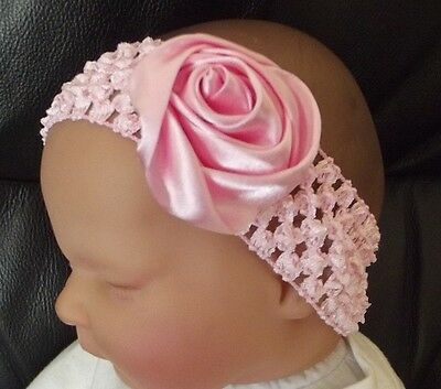 BABY//CHILD//REBORN DOLL 2 INCH SATIN ROSE CROCHET HEADBAND MANY COLOURS