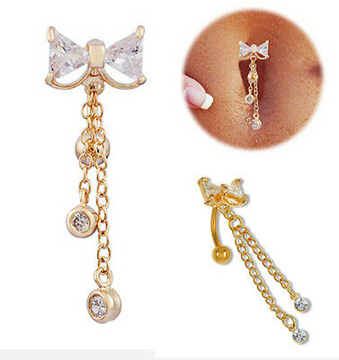 Gold Reverse Belly Button Ring Dangle Body Navel Bar Clear Bow Jewelry Piercing