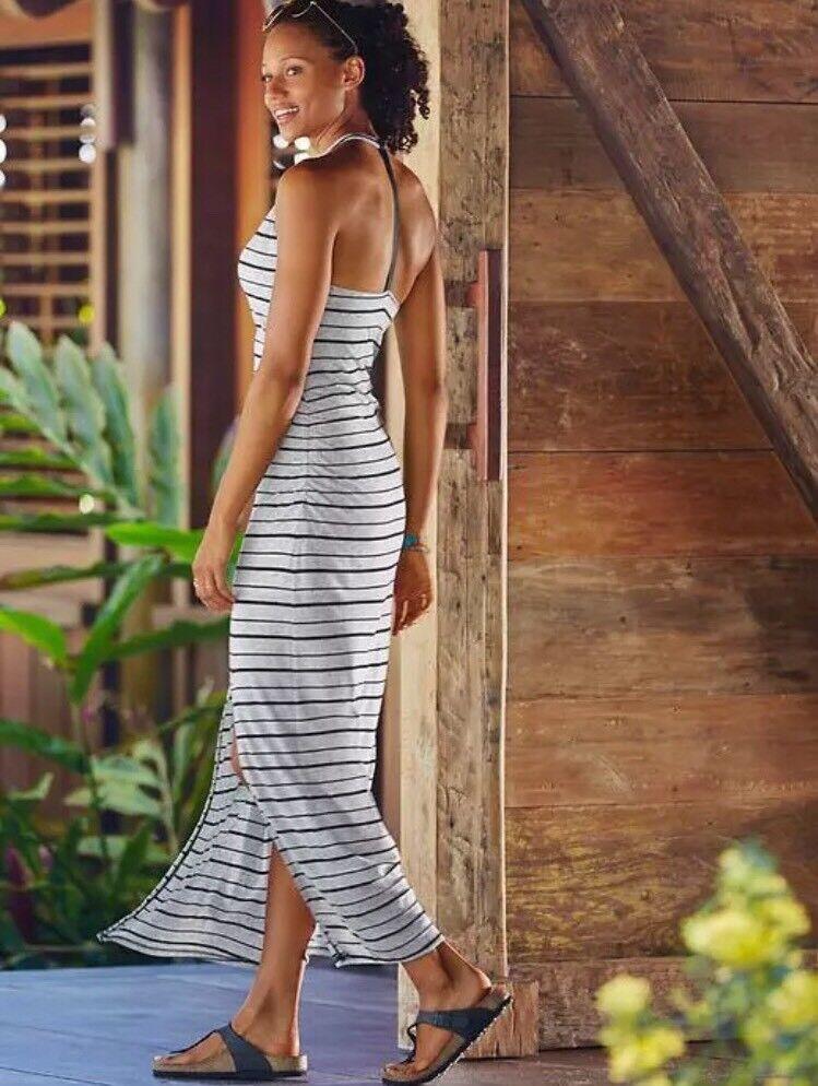 NWT  Athleta Stripe Serenity Maxi Dress Slate Grey Sz Medium M