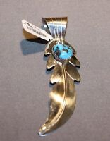 Navajo Sterling Feather Pendant By Yazzie