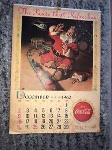 Vintage COCA-COLA SODA 1962 1963 COKE Calendar Santa Claus Full Pad Button Sign