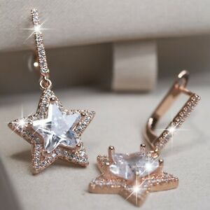 18K-ROSE-GOLD-GF-STUD-MADE-WITH-SWAROVSKI-CRYSTAL-STAR-Drop-DANGLE-EARRINGS