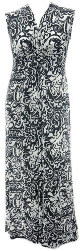 Ladies 16-24 New Plait Detail Black White Stretch Print Long Maxi Dress Womens