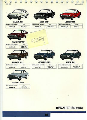 """Nieuwe Mode (84) Planche De """"nuancier- Teintier"""" Renault 18 Turbo"""