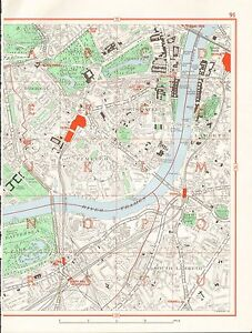 Pimlico London Map.1964 Vintage London Street Map Westminster Pimlico South Lambeth
