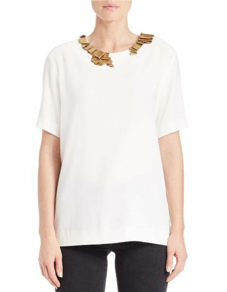 DKNY Petite Top Sz P Winter White Short Sleeve Embellished Crepe Boxy Blouse