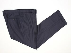 Custom-Tailored-Mens-Dress-Pants-41x32-Solid-Navy-Blue-Wool-Flat-Front-Trousers