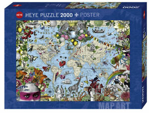 Heye-Puzzles-2000-Pieces-Jigsaw-Puzzle-Quirky-World-carte-Art-HY29913