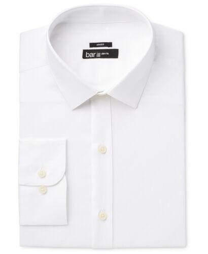 NEW $95 BAR III size 14-14.5 32//33 Men SLIM-FIT STRETCH WHITE BUTTON DRESS SHIRT