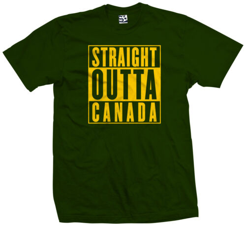 All Sizes /& Colors Straight Outta Canada T-Shirt Canuck Canadian Flag Parody
