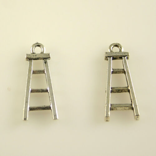 5 Lead Free Antique Silver Tone Pewter Charms Ladder