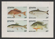 GB Locals - Staffa 3534 - 1979  FISH  imperf sheet of 4 unmounted mint