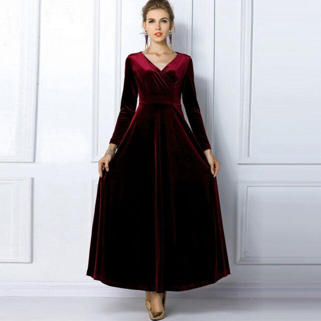 Women V Neck Velvet Dress Winter Tunics Robes Long Shirt Maxi Dress