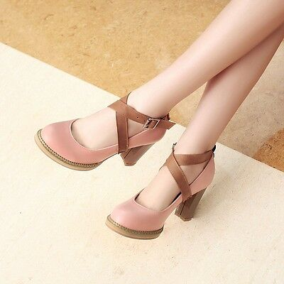 Womens Leather High Block Heels Platforms Strappy Round Toe Pumps Ladys Shoes