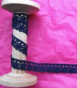 18mm-Navy-Blue-Crochet-Oval-Border-Wedding-Lace-Ribbon-Trim-Metre