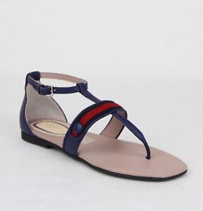 8884a1de06e82 Gucci Girl Children s Navy Blue Leather Sandal w R Blue Web 32 US .5 ...