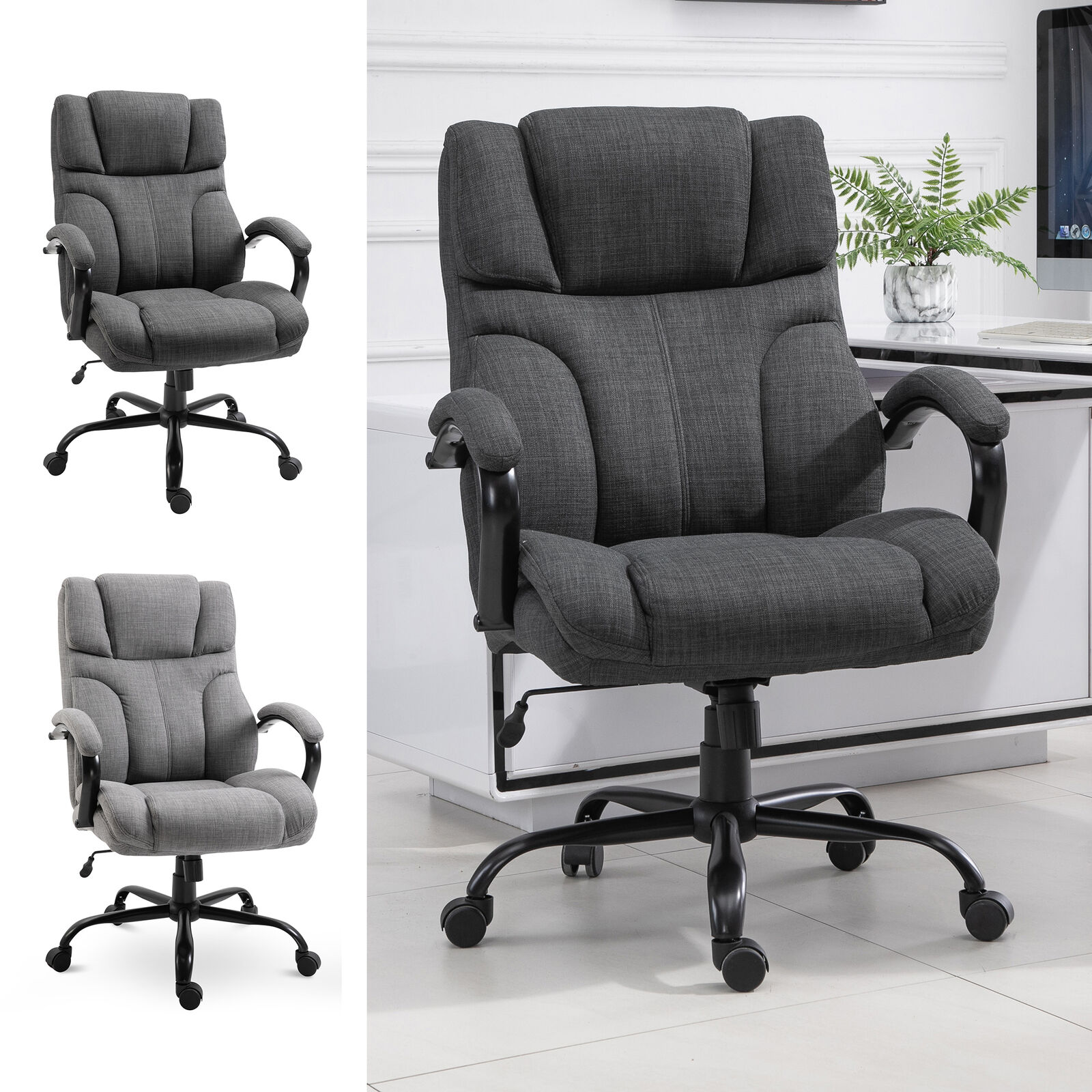 Vinsetto Ergonomic Office Chair with Wheel Linen Style ...