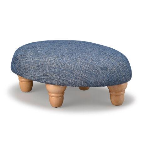 Biagi Upholstery /& Design Bleu jean petit tabouret ovale avec bois tourné pieds