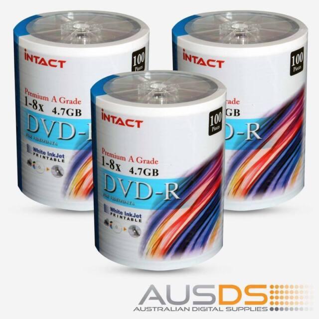 300 X Intact DVD blank disc media - Printable DVD-R discs matt - 8X - 100pk