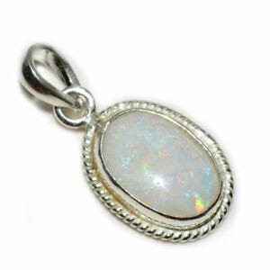 Echte-Opal-925-Sterling-Silber-5-Karat-Anhanger-Charm-Halskette-White-Schmuck