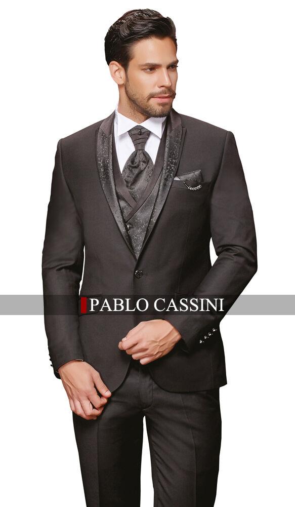 PABLO CASSINI Designer Herren Anzug Schwarz Hochzeitsanzug
