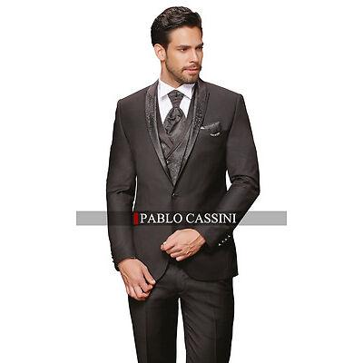 PABLO CASSINI Designer Herren Anzug Schwarz Hochzeitsanzug Bräutigam PC_16