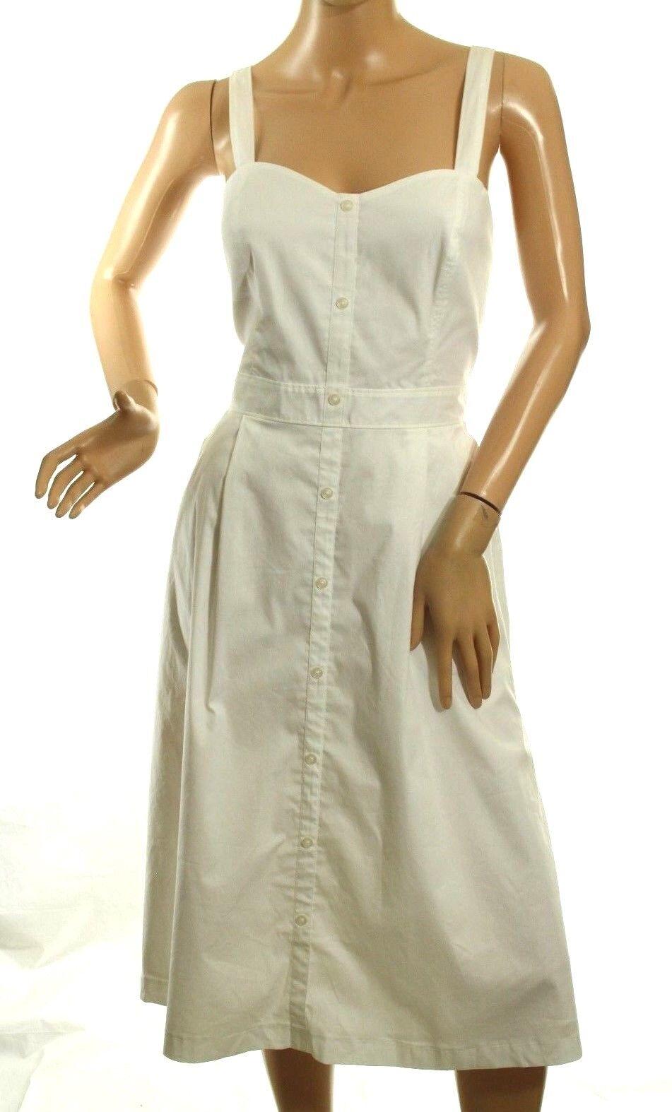 Guess Woherren Dress Weiß Stretch Cotton Fit & Flare Poplin Elena Größe 8