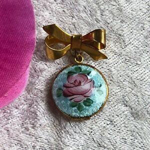 Vintage Victorian / Edwardian Guilloche Enamel Flower Locket Brooch Blue Pink