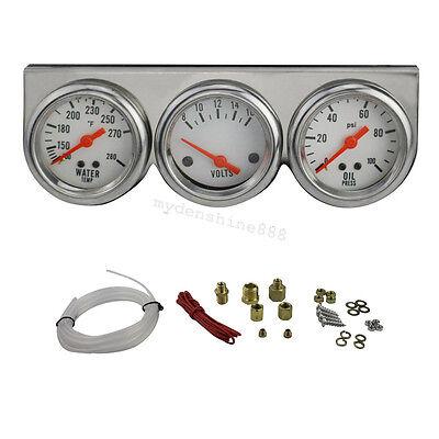 USA-Gauges Chrome 50mm Water temperature Oil Pressure Volt Triple 3 Gauge KIT