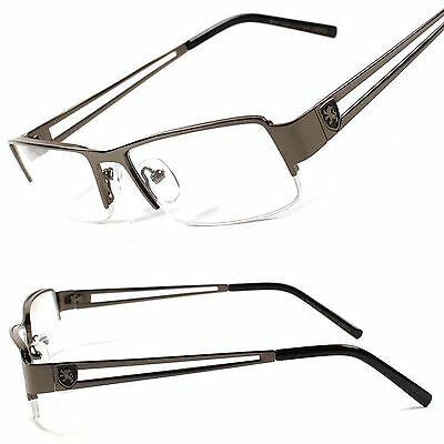 New Designer Casual Smart Nerd Clear Lens Gunmetal Mens Women Eye Glasses B8