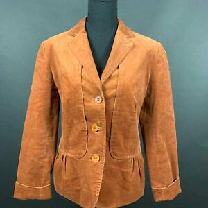 Talbots-Brown-Corduroy-Jacket-Blazer-Button-Front-Long-Sleeve-Womens-Size-8