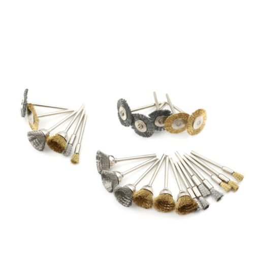27pcs Brass Brush Wire Wheel Brushes Die Grinder Rotary Electric Polishing T E+c