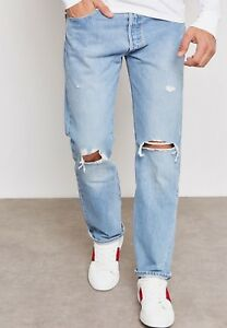 NEW-MENS-LEVIS-501-PREWASHED-BUTTON-FLY-DISTRESSED-JEANS-PANTS-005012664-BLUE
