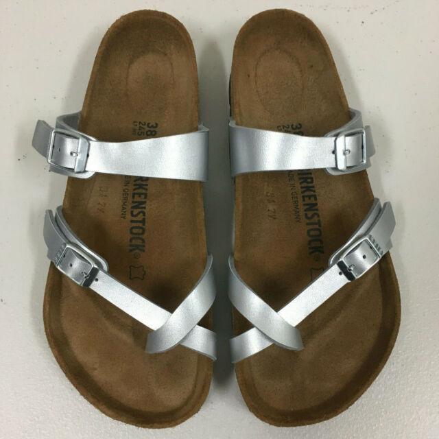 Birkenstock Mayari Silver Sandal EU 38 US 7 7.5 Women Regular Pre Owned