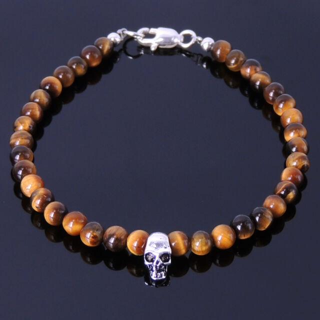Men Women Gemstone Bracelet Skull 4mm Tiger Eye Beads S925 Sterling Silver Clasp