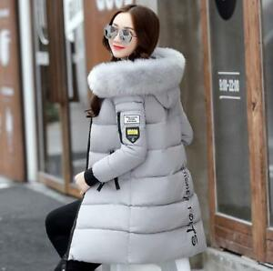 1316f3b8f8b Winter Womens Thick Fur Hooded Warm Down Cotton Parka Coat Jacket ...